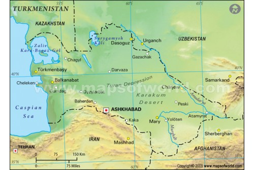 Buy Turkmenistan Physical Map Green - Turkmenistan physical map
