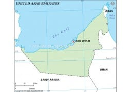 UAE Outline Map, Green
