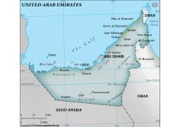 UAE Physical Map with Cities, Gray - Digital File
