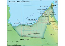 United Arab Emirates Physical Map, Green - Digital File