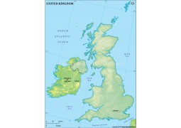 UK Blank Map, Dark Green  - Digital File