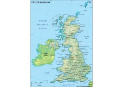 UK Political Map, Dark Green  - Digital File