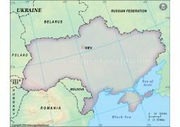 Ukraine Blank Map in Green Background