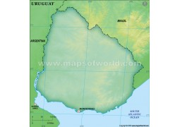 Uruguay Blank Map, Dark Green - Digital File