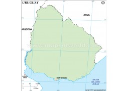 Uruguay Outline Map - Digital File