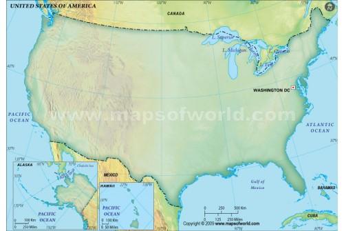 US Blank Map, Dark Green