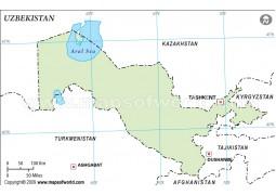 Uzbekistan Outline Map - Digital File