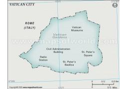 Vatican City Physical Map, Gray - Digital File