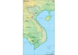 Vietnam Blank Map, Dark Green - Digital File