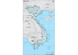 Vietnam Physical Map, Gray - Digital File