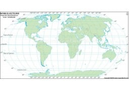 World Robinson Projection Map with Country Outlines in Green Color