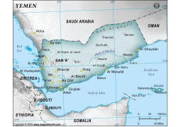 Yemen Physical Map, Gray - Digital File