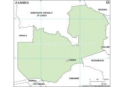 Zambia Outline Map - Digital File