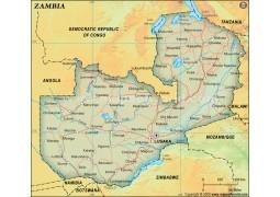 Zambia Political Map, Dark Green