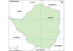 Zimbabwe Outline Map - Digital File
