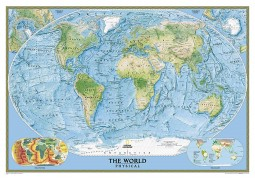 World, Physical/Ocean Floor, enlarged and laminated by National Geographic Maps