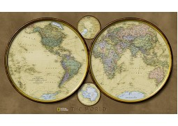 World, Hemispheres, laminated by National Geographic Maps