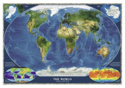 World, Satellite, laminated by National Geographic Maps