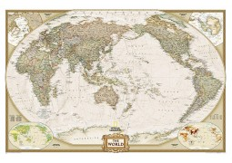 World, Executive, Pacific Centered, sleeved by National Geographic Maps