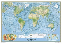 World, Physical/Ocean Floor, enlarged and sleeved by National Geographic Maps