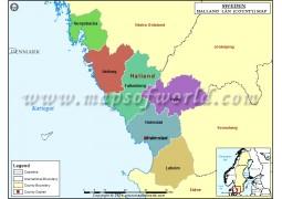Halland County Map - Digital File