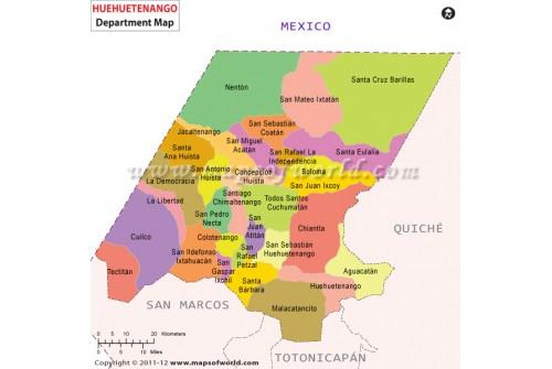 Huehuetenango Map, Guatemala