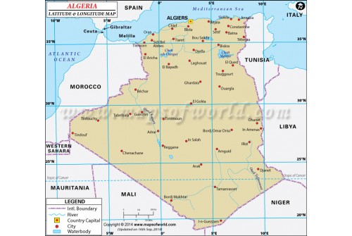 Algeria Latitude and Longitude Map