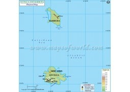 Antigua And Barbuda Physical Map - Digital File