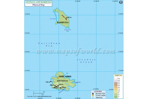 Antigua And Barbuda Physical Map
