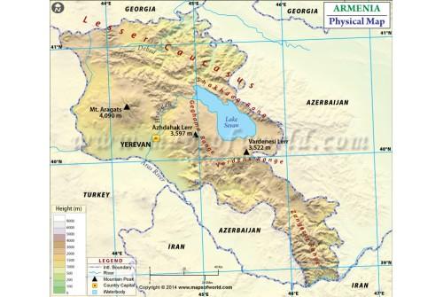 Armenia Physical Map