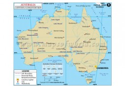 Australia Latitude and Longitude Map - Digital File