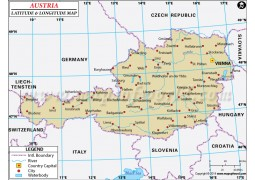 Austria Latitude and Longitude Map - Digital File