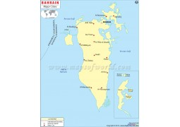 Bahrain Map with Cities