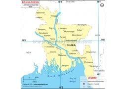 Bangladesh Latitude and Longitude Map - Digital File