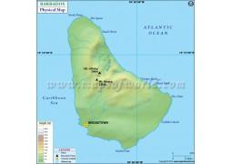 Barbados Physical Map - Digital File