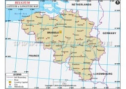 Belgium Latitude and Longitude Map - Digital File