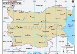 Bulgaria Latitude and Longitude Map - Digital File