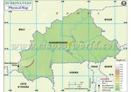 Burkina Faso Physical Map - Digital File