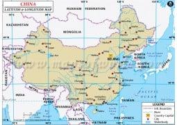 China Latitude and Longitude Map - Digital File