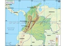 Colombia Physical Map - Digital File