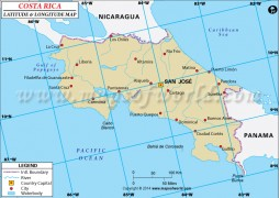 Costa Rica Latitude and Longitude Map