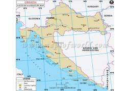 Croatia Latitude and Longitude Map - Digital File