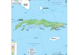 Cuba Physical Map - Digital File