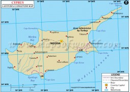Cyprus Latitude and Longitude Map - Digital File