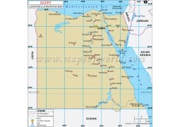 Egypt Latitude and Longitude Map - Digital File