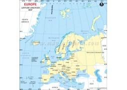 Europe Continent Latitude andLongitude Map - Digital File