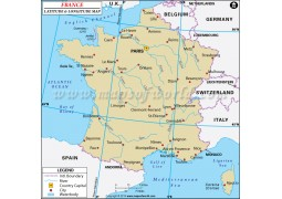 France Latitude and Longitude Map - Digital File