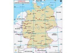 Germany Latitude and Longitude Map - Digital File