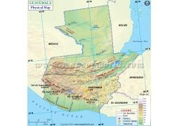 Guatemala Physical Map - Digital File
