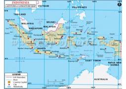 Indonesia Latitude and Longitude Map - Digital File
